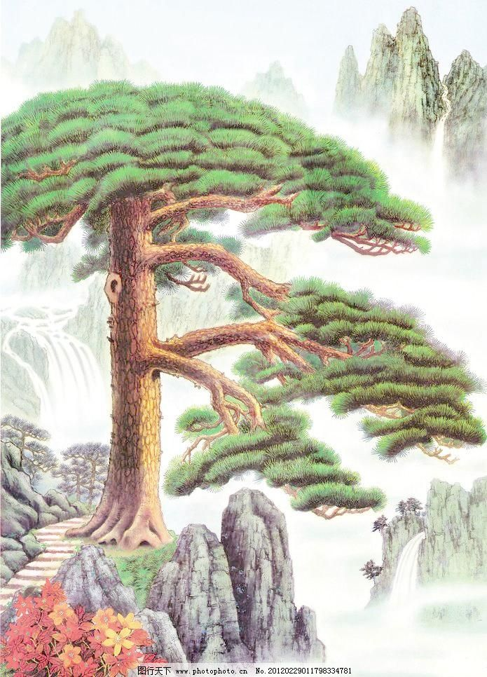 jpg 大山 风景画 红叶树 绘画书法 山水油画 设计 石头 松树 油画迎客