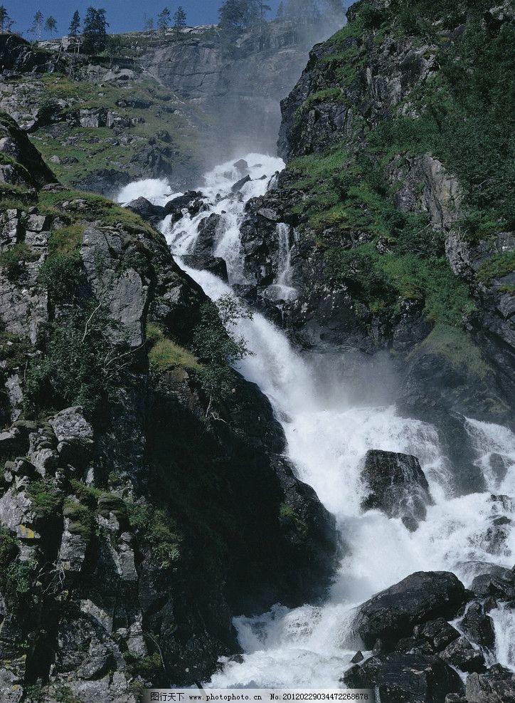 高山流水 气势山水 瀑布 险峻山峰 山水风景 自然景观 摄影 300dpi jp