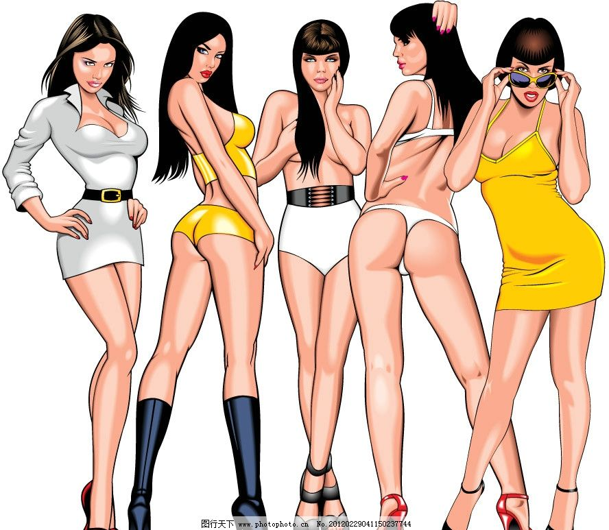 比基尼性感美女 性感 比基尼 时尚 魅力 手绘 美女 女孩 女人 女郎