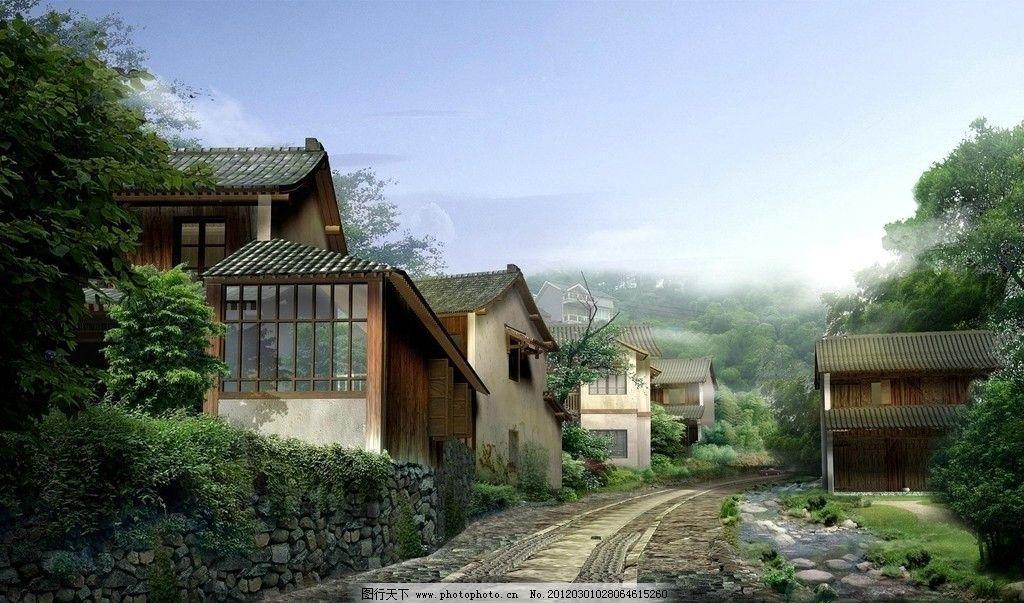 山村 山 房屋 美景 溪流 树 石路 蓝天 建筑设计 环境设计 设计 72dpi