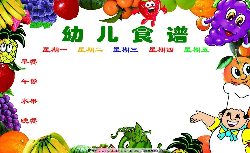 幼儿园食谱 食谱展板 卡通水果 水果 pop 卡通厨师 小人 儿童 香蕉