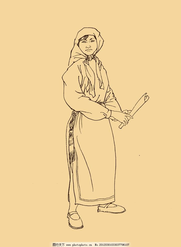 东乡族人物白描 人物画 少数民族 国画 民族服饰 源文件-朴昌龙 民族舞