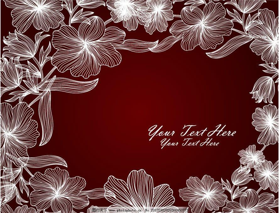 手绘线条花纹花朵 古典花纹 手绘 线条 花纹 花朵 花卉 古典 欧式