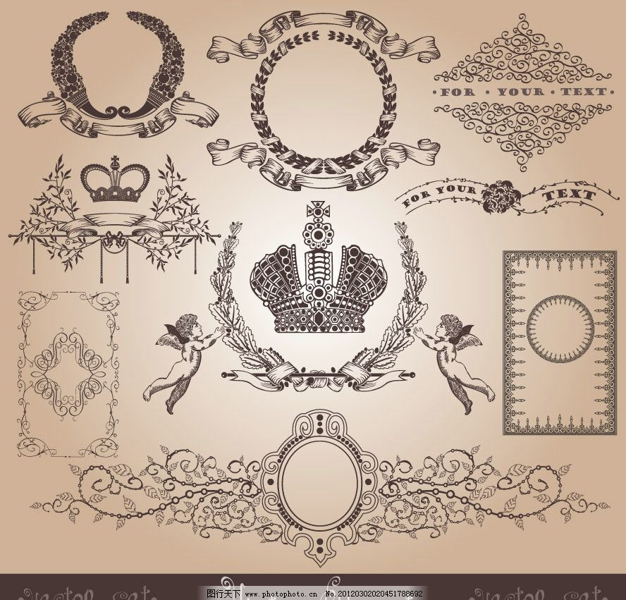 欧式花纹边框 欧式 古典