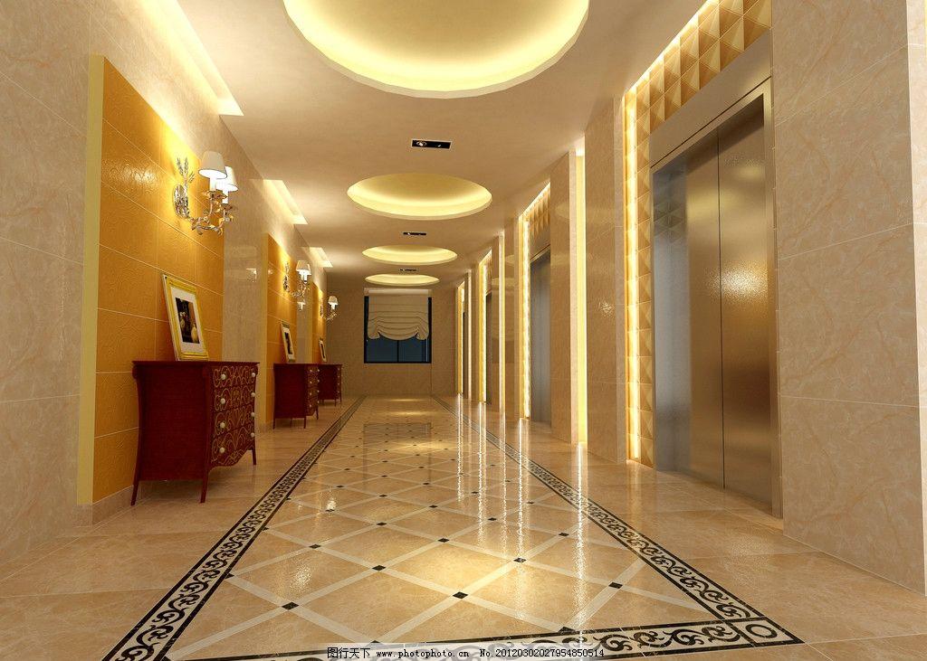 走道 效果图 室内 走廊 过道 地面 抛光砖 吊灯 拼花 石材