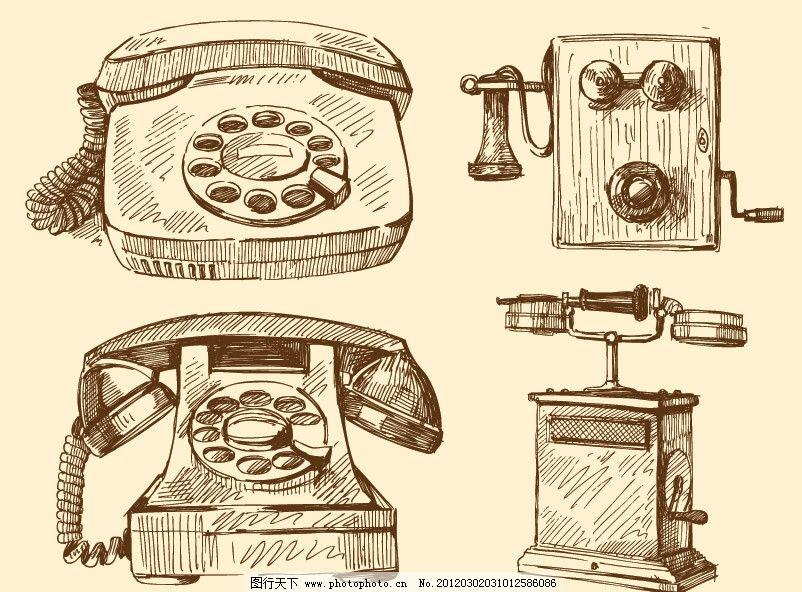 手绘古代电话矢量 手绘 古典 怀旧 复古 电话 话机 矢量 素描画钢笔画