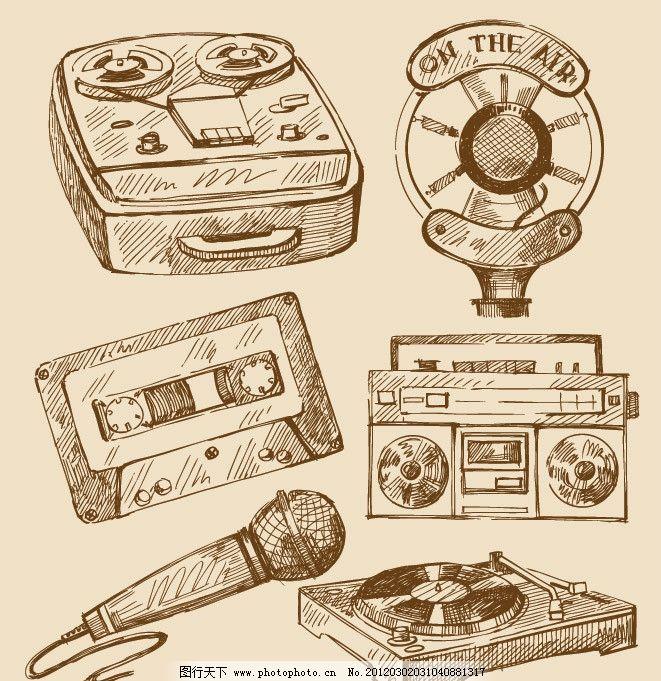 手绘古典音响设备 手绘 古典 音响 设备 录音机 收音机 唱机 麦克风