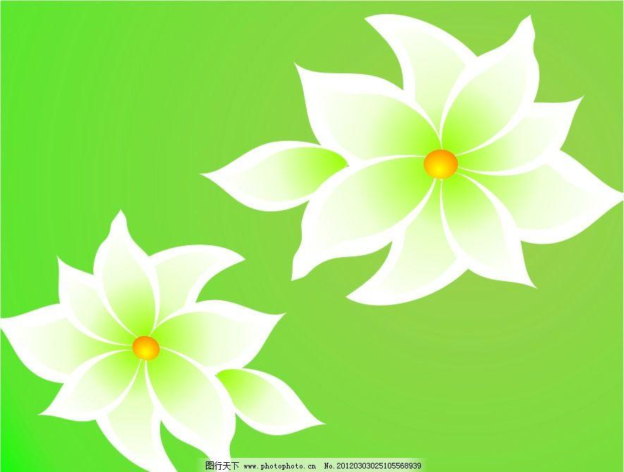 白花 花朵 花 黄芯 绿花 花瓣 花芯 花蕊 矢量 花纹 底图 背景 绿色