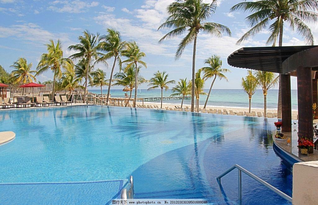 度假村别墅花园游泳池外景设计实例图片