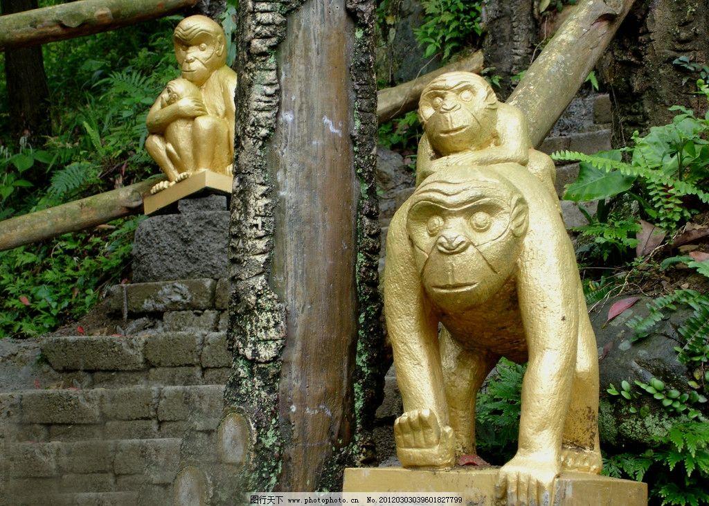 公园猴子雕像 公园 森林 雕塑 猴子 景观 雕像 建筑园林 摄影 72dpi