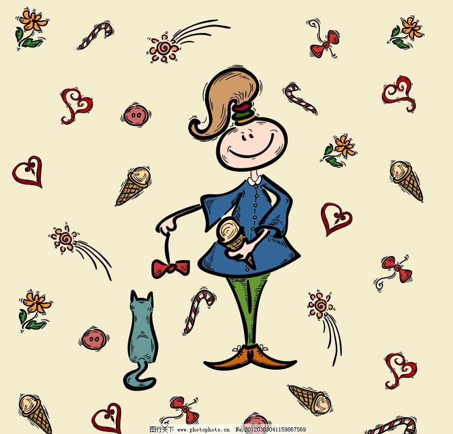 女人 卡通 手绘 贵妇 蝴蝶结 冰淇淋 小猫 爱心 鲜花 花朵 梦幻 背景