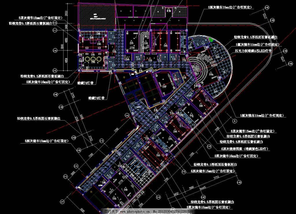 大型自助式ktv 二层天棚布置图图片