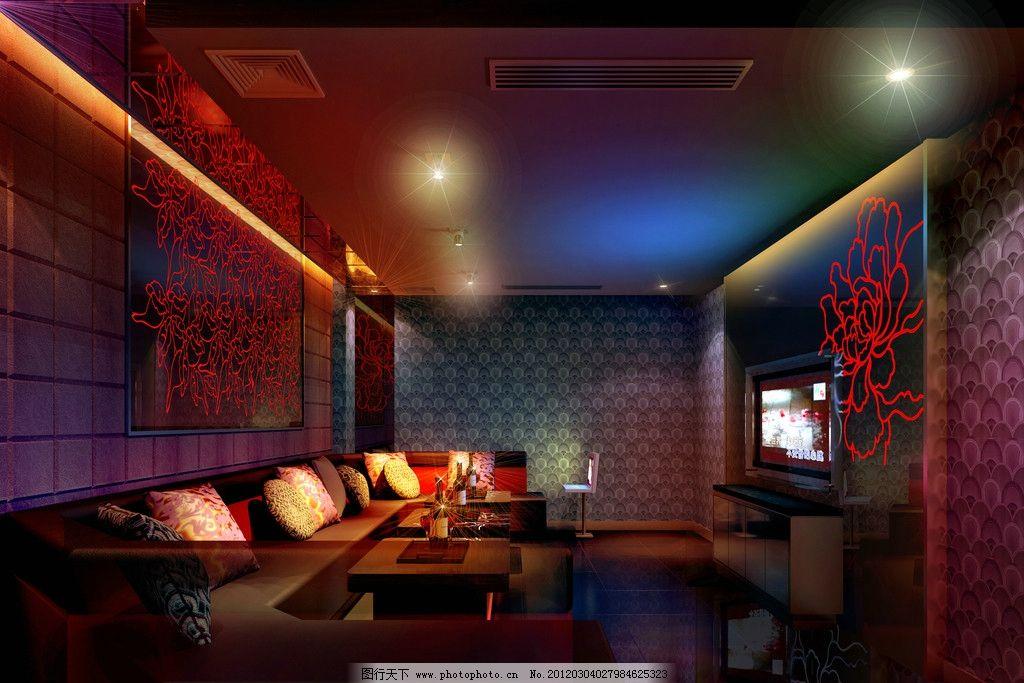 茶几 灯光 电视 包厢 厦门 红牡丹 大型自助式ktv设计效果图 室内设
