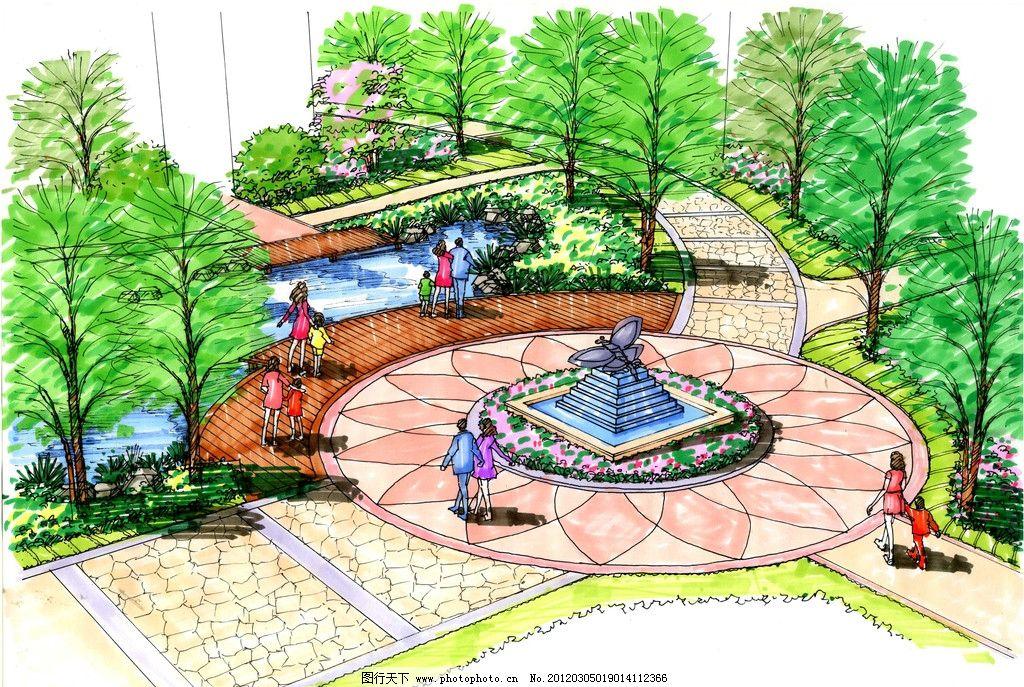 景观设计手绘图 建筑        规划 雕塑 喷泉 草坪 草地 树 花 广场
