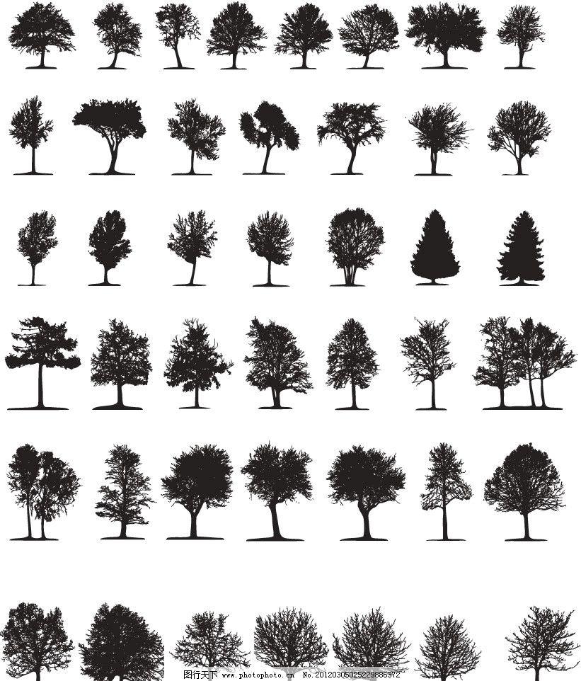 树剪影矢量图片