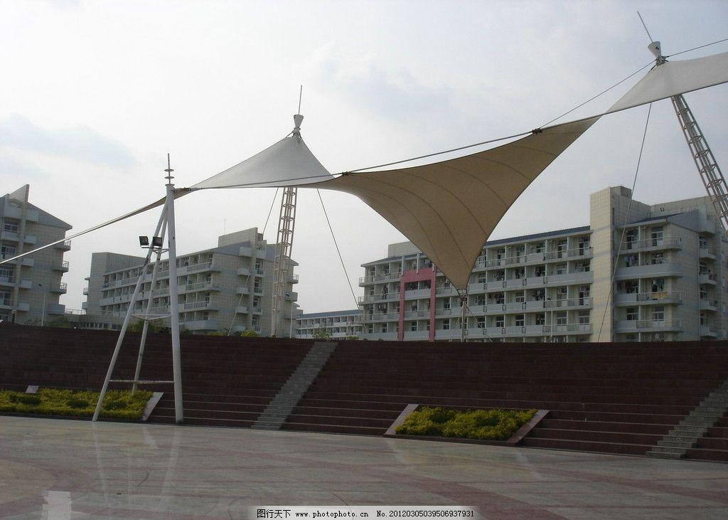 大学校园景观 大学 校园 景观 绿地 绿化 建筑 教学楼 铺地 广场 张拉