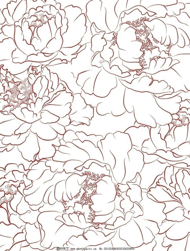 牡丹 白描 牡丹花 花纹 背景底纹 底纹边框 设计 300dpi jpg