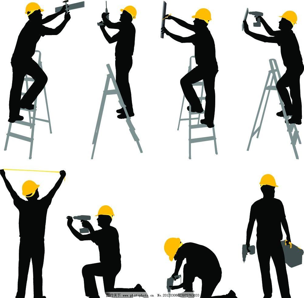 剪影 泥工 粉刷工 木工 勘测 勘测工人 油漆工 矿井工 修理工 矢量