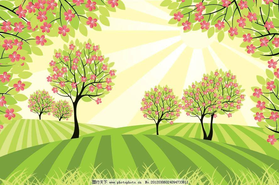春天的田野绿树鲜花图片