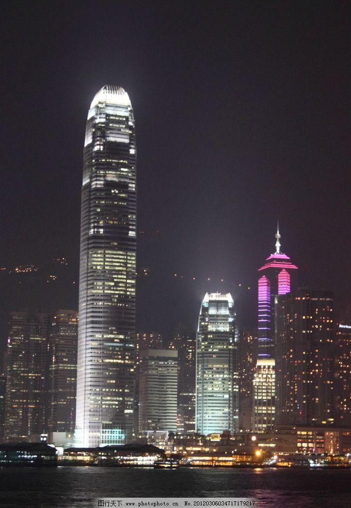高分辨率香港维多利亚港夜景图片