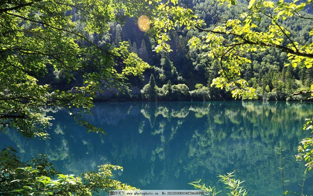 九寨沟 水面 倒影 绿树 山峦 箭竹海 熊猫海 五花海 九寨沟黄龙 自然