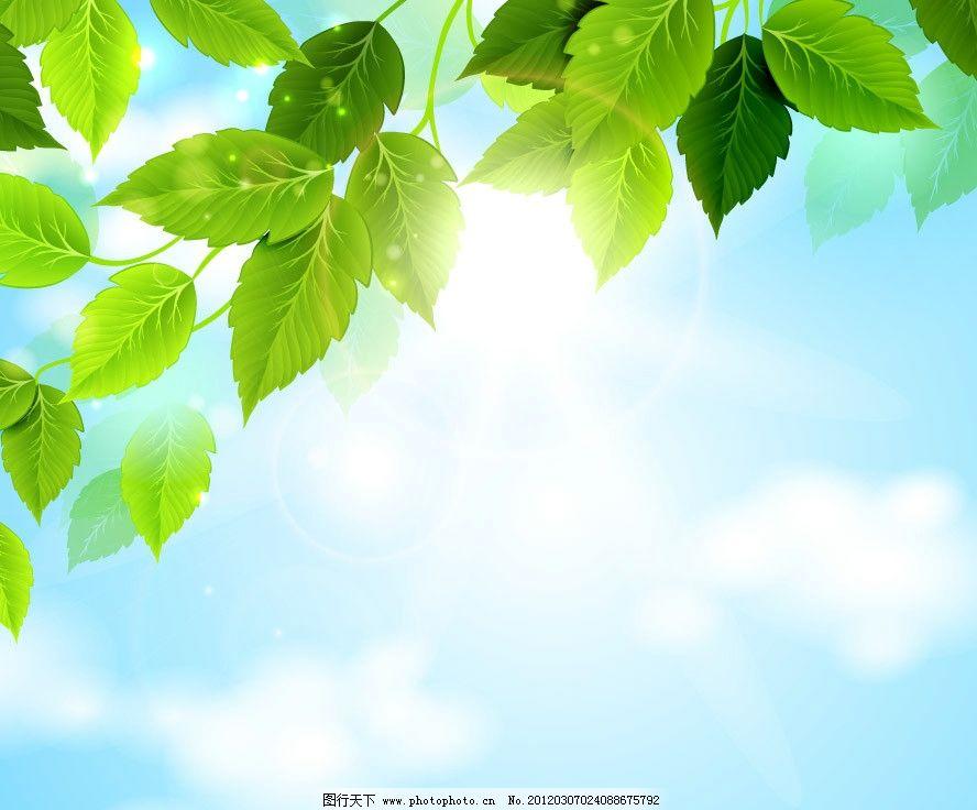 蓝天白云绿叶 蓝天 白云 绿叶 树叶 春天 装饰 设计 手绘 矢量 梦幻