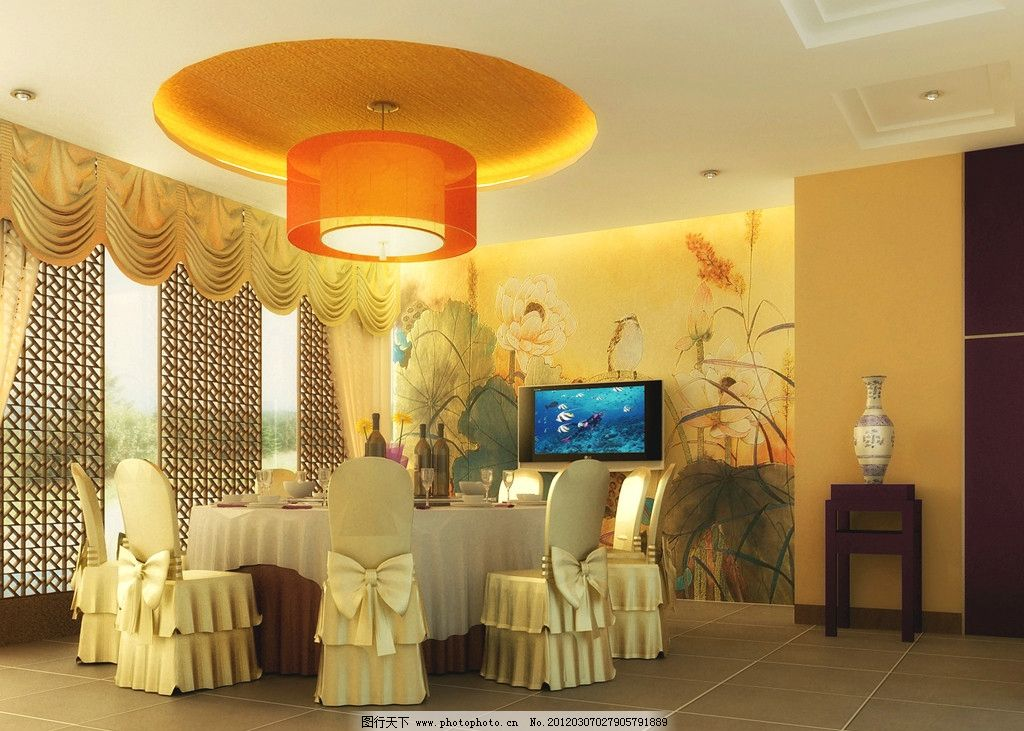 室内效果图 包间 包房 酒店 酒楼 餐桌 中式吊灯 电视机 窗帘 墙绘