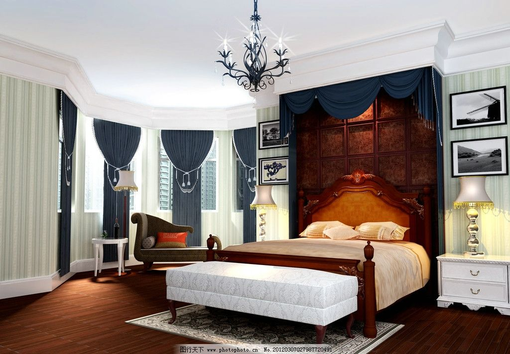 卧室效果图             床 吊灯 台灯 墙画 贵妃椅 木地板 窗帘 室内