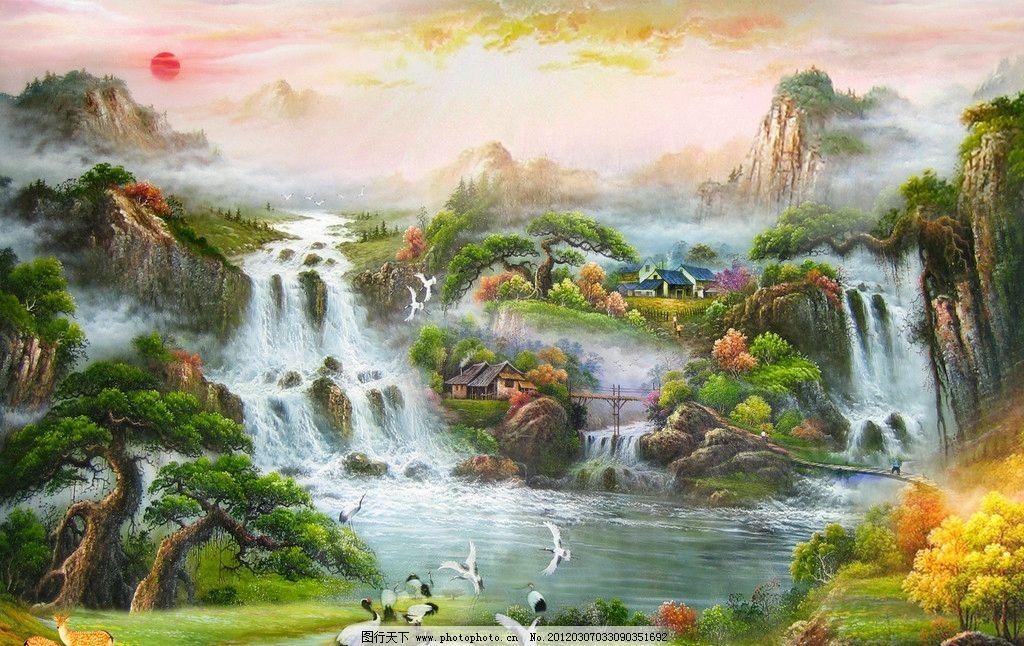 大树小溪风景油画