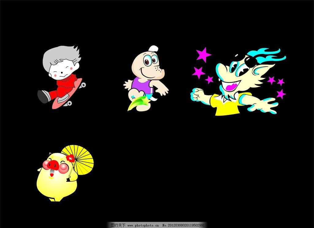 卡通公仔 猪 小女孩滑滑板 雨伞 各类公仔 其他 标识标志图标 矢量 cd