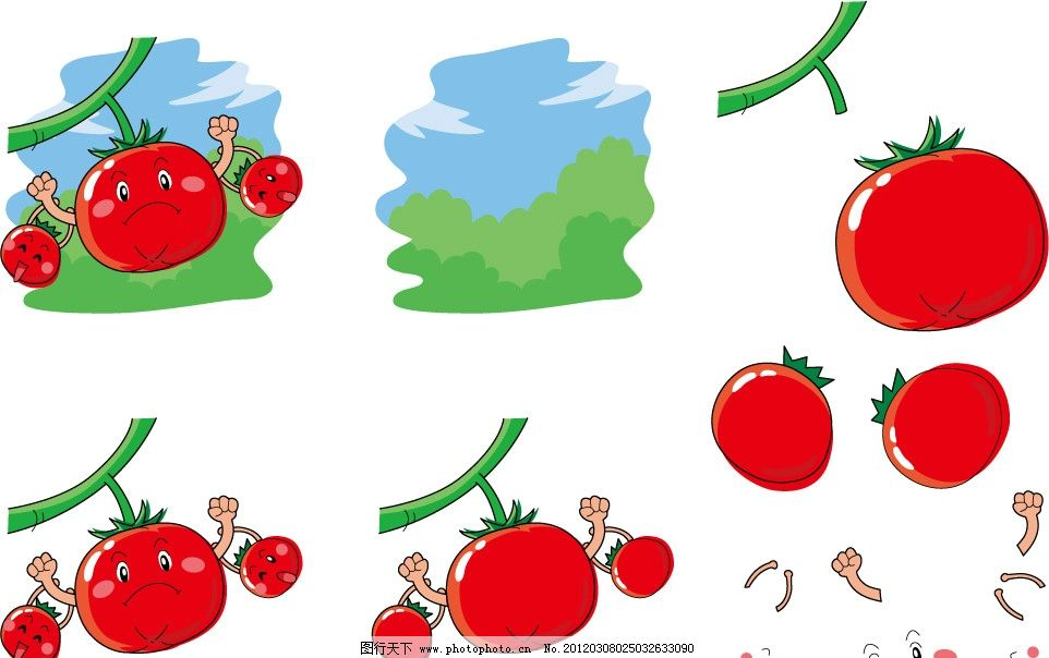 手绘西红柿表情 插画 插图 可爱 卡通 符号 开心 大力士 做早操