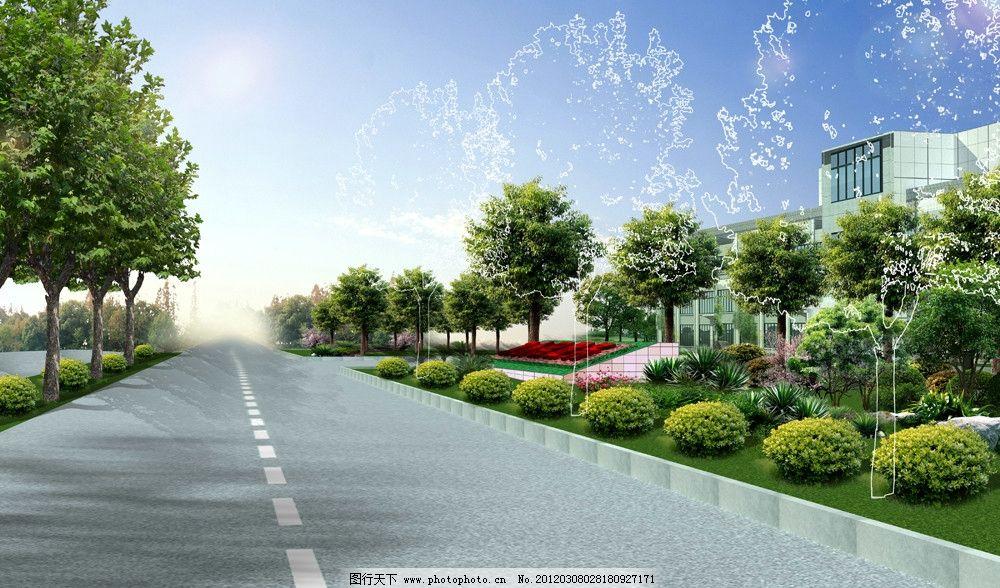入口景观图片,政府 道路 海桐球 香樟 建筑 花池-图行