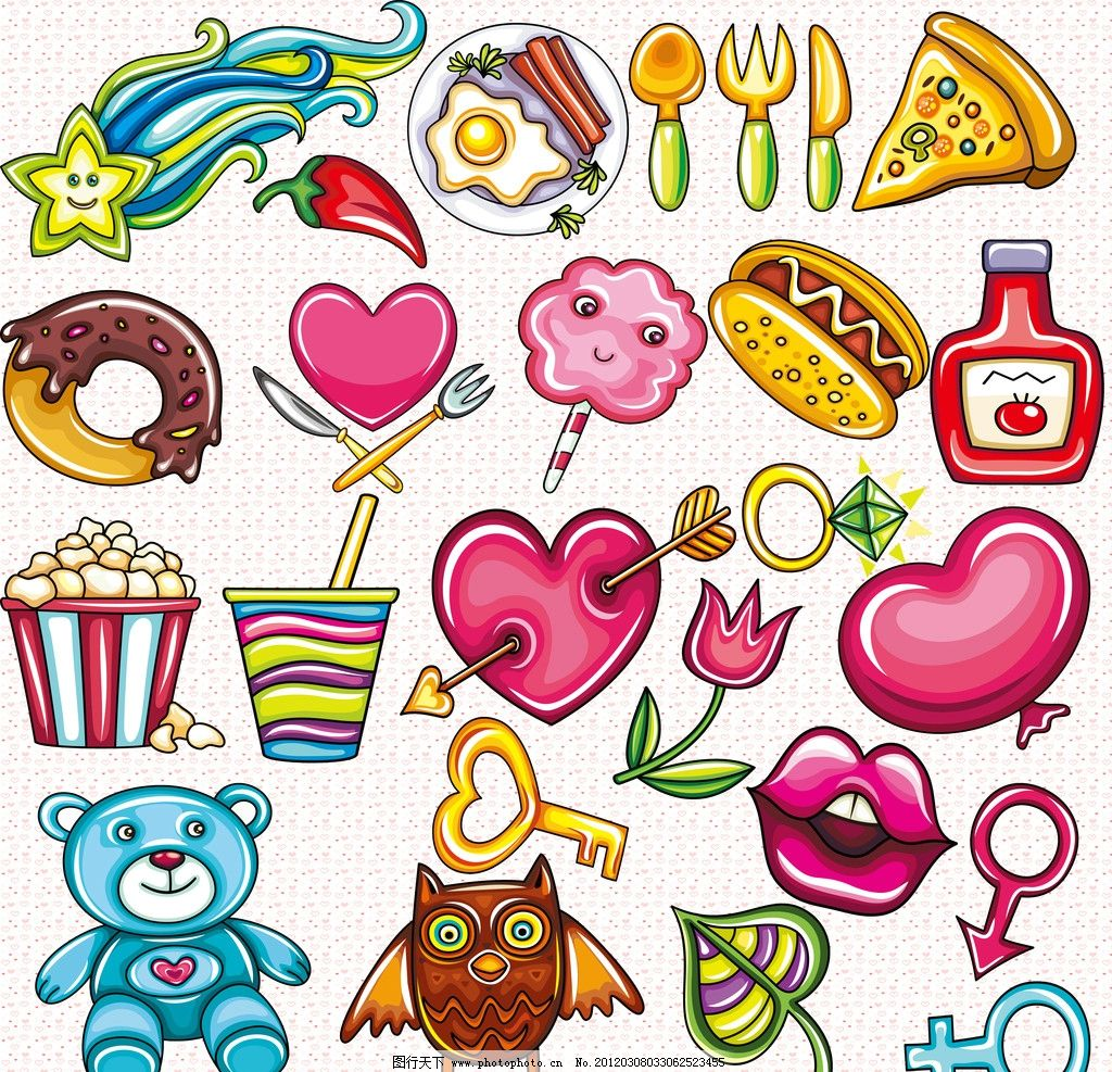 可爱 卡通 手绘 星星 汉堡 披萨 气球 猫头鹰 花 爱心 小熊 鸡蛋 糕点