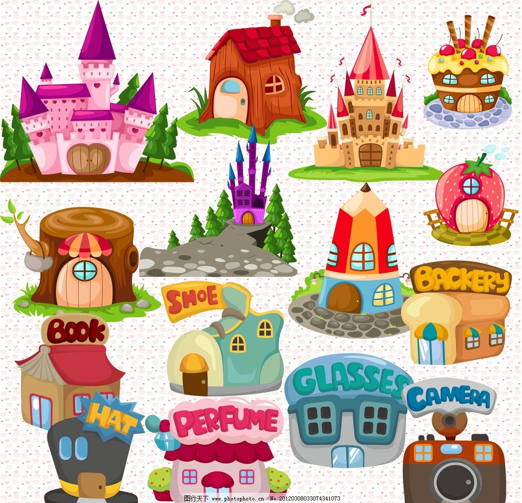 卡通房子 卡通 房子 房屋 城堡 楼房 建筑 psd分层素材 源文件 300dpi