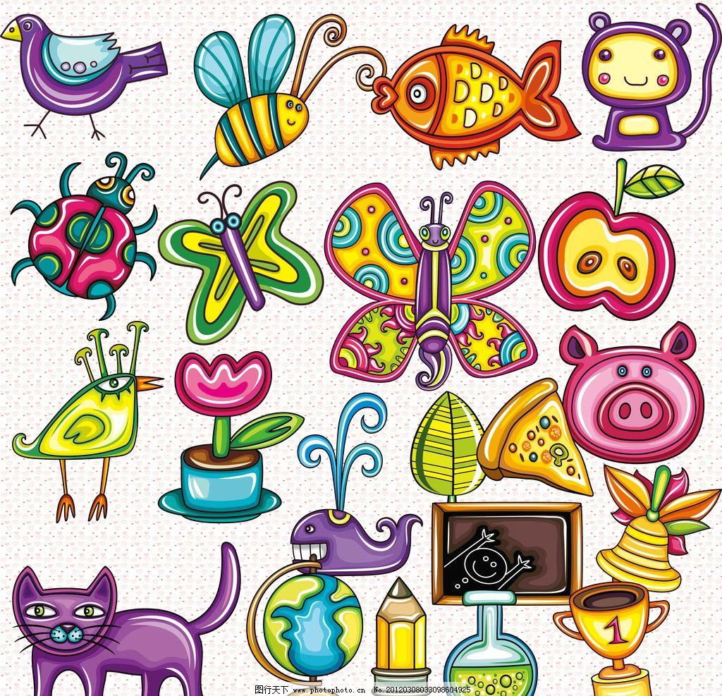 可爱 手绘 卡通 蝴蝶 小鸟 蜜蜂 猪 猫 花 甲壳虫 鱼 鲸鱼 苹果 叶子