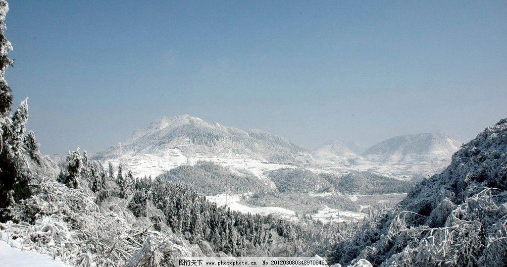 雪景 雪山 雪原 蓝天 雪中森林 自然风景 自然景观 摄影 300dpi jpg