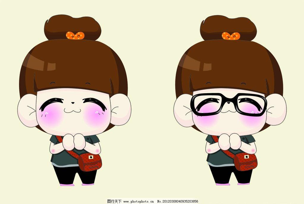 卡通小女孩 可爱 书包 漂亮 美丽 表情可爱 可爱卡通小女孩 儿童幼儿