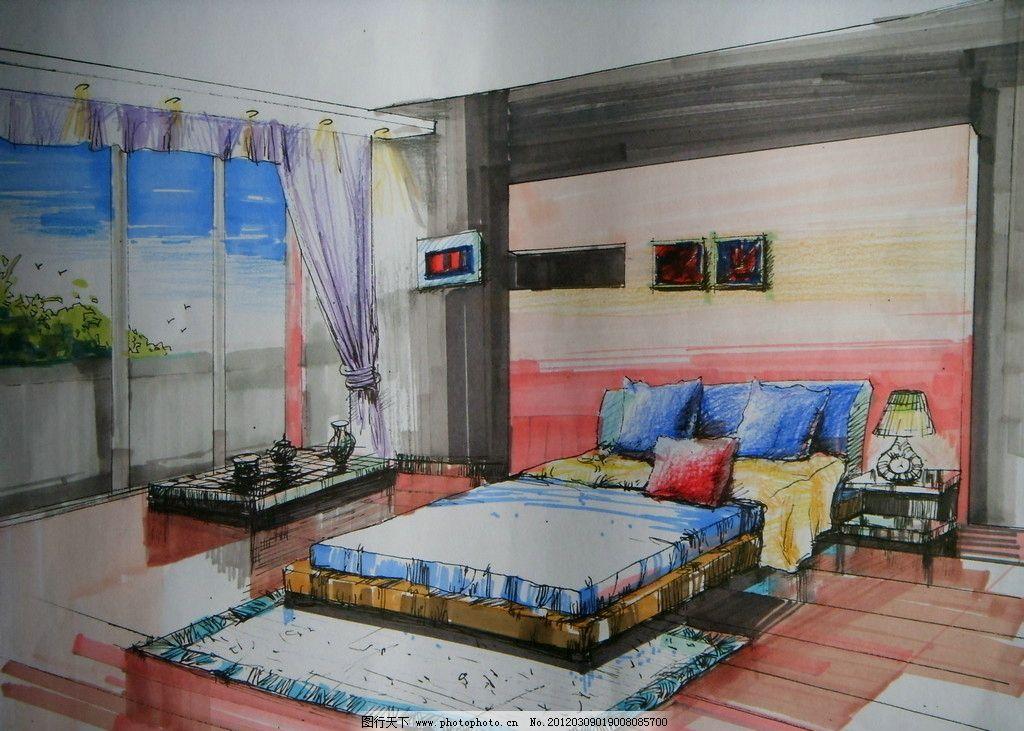 卧室手绘 效果图 装修 床 窗户 窗帘 地毯 相框 台灯 绘画书法