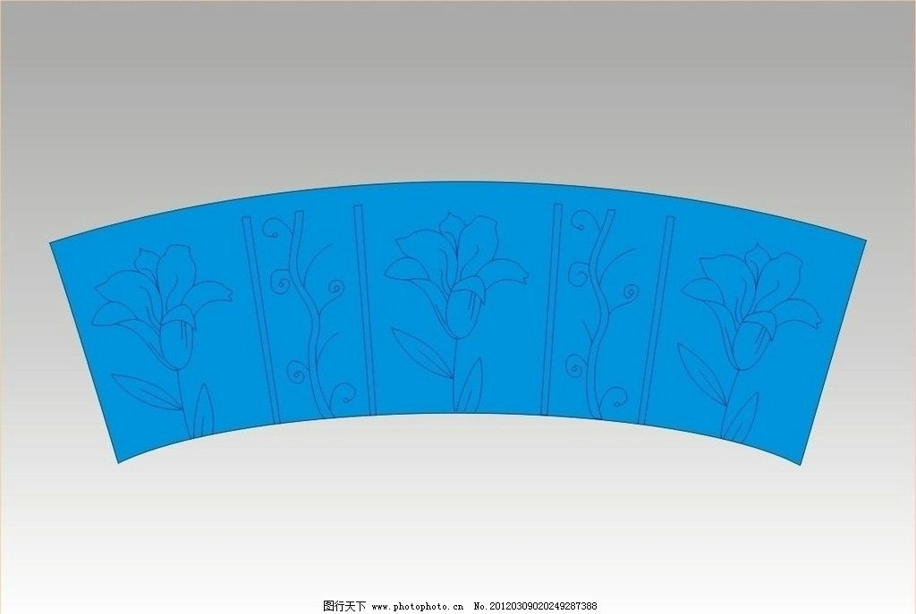 花朵 线条 矢量 蓝色 叶子 边款 底纹 扇形 移门 背景 底纹边框 底纹