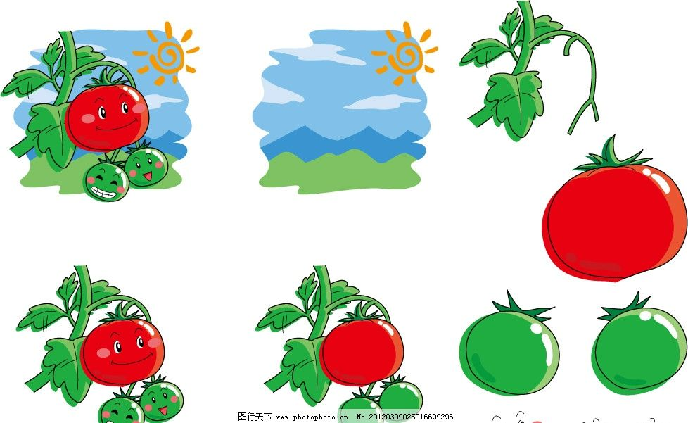 手绘西红柿表情 蔬菜 手绘 插画 插图 q版 可爱 卡通 表情 符号 微笑