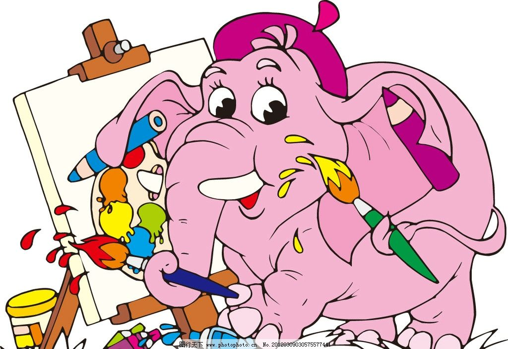 卡通大象 画画 画图 作画 画笔 画板 可爱大象 矢量