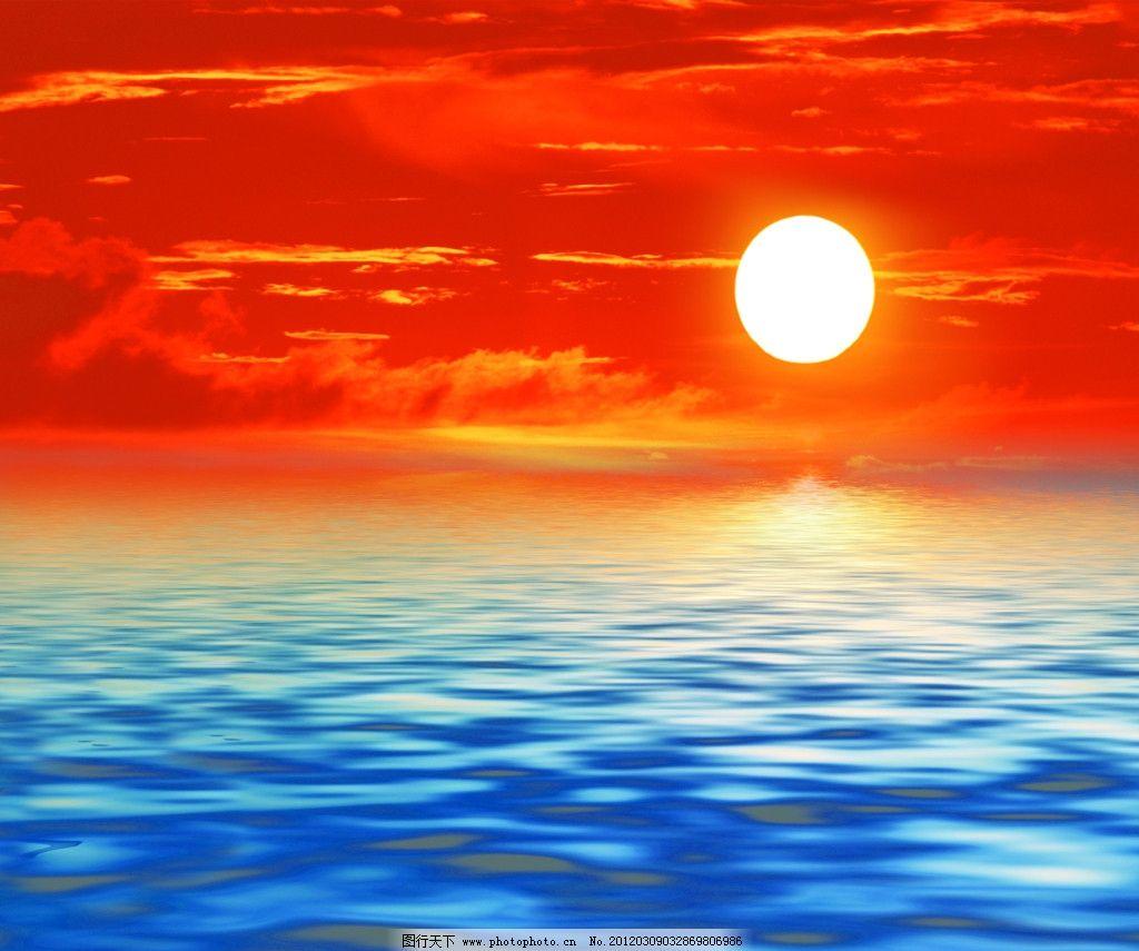 海上日出 太阳 旭日 旭日东升 朝阳 夕阳 落日 大海 蔚蓝色