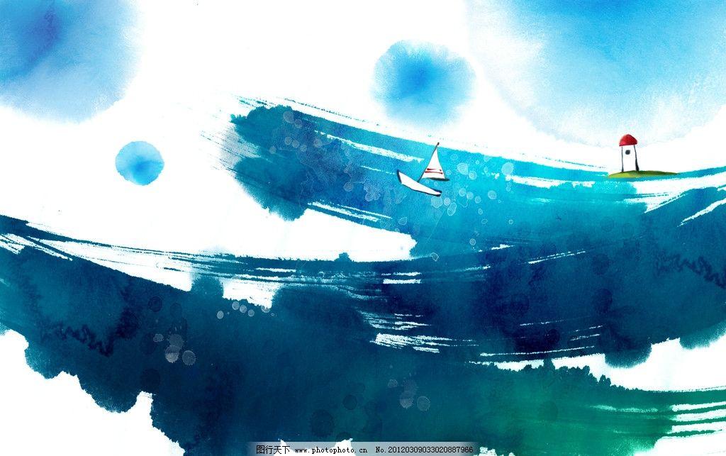 写意手绘花卉底纹 写意画 写意花卉 小船 帆船 灯塔 大海 手绘图案 手