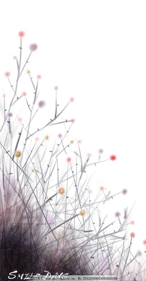 飞白 手绘图案 花鸟画 国画花鸟 分层素材 彩粉画 蜡笔画 手绘花卉