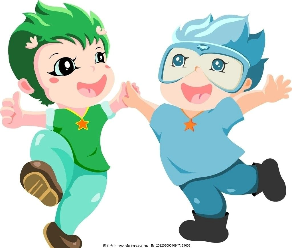 矢量卡通人 矢量 卡通 人物造型 两人 孩子 快乐 小宝贝 ai 双子 大眼