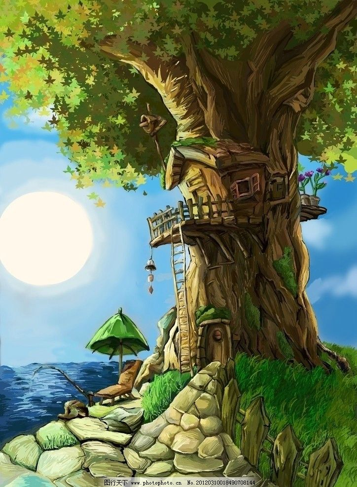 树 房子 漫画 风景漫画 动漫动画 设计 300dpi jpg