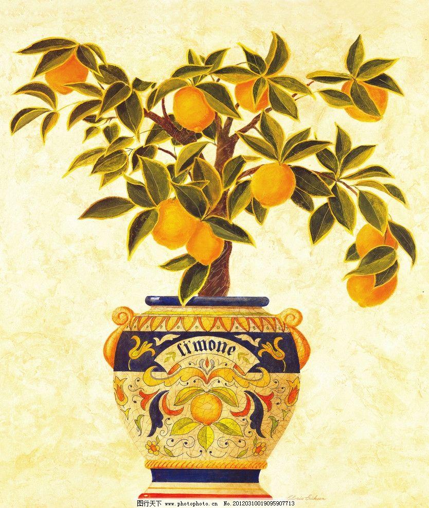 芒果 花盆 油画 装饰画 绘画 素描系列 绘画书法 文化艺术