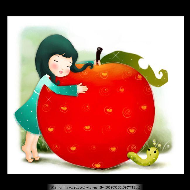卡通人物免费下载 插画 虫子 卡通 六一儿童节 女孩 苹果 矢量图 卡通图片