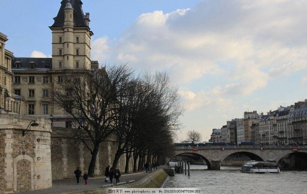欧洲风景 欧洲 风景 街景 建筑 天空 河流 大桥 绿树 房子 欧式建筑