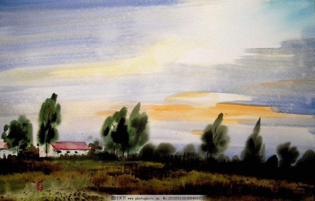 故土 美术 水彩画 风景画 乡野 树林 树木 草地 房屋 水彩画艺术 水彩